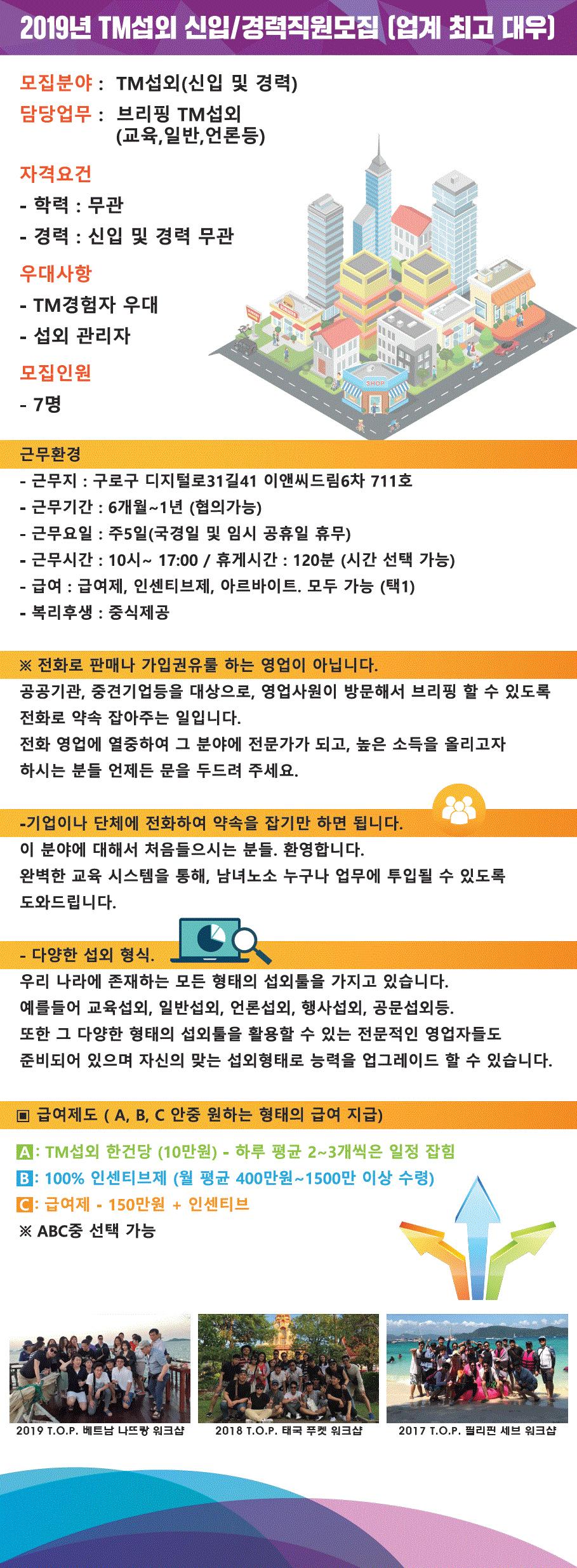 2019년 TM 섭외 신입/경력직원모집