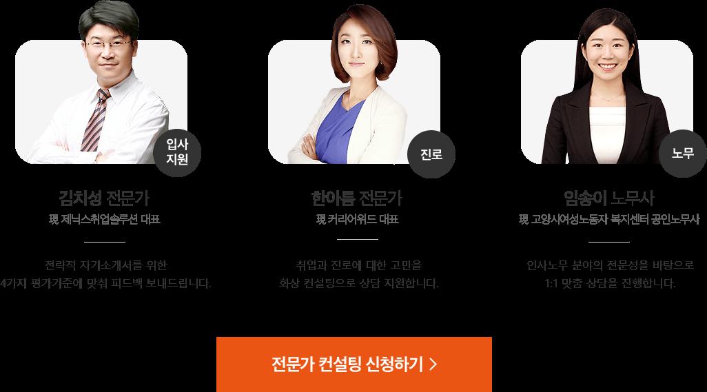 입사지원 김치성 전문가 / 진로 한아름 전문가 / 노무 임송이 노무사