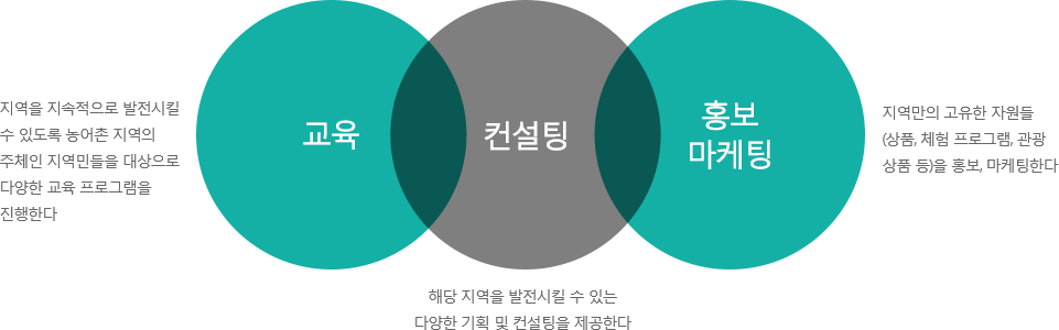 서비스 세가지 영역 / 교육, 컨설팅, 홍보마케팅