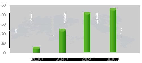 솔루션 매출 그래프 - 2013년  약 5억원, 2014년 약 25억원, 2015년 약 43억원, 2016년 약 48억원