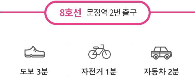 8호선 문정역 2번출구 :  도보 3분, 자전거 1분, 자동차 2분