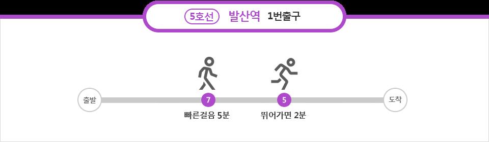5호선 발산역 1번출구 : 빠른걸음 5분, 뛰어가면 2분