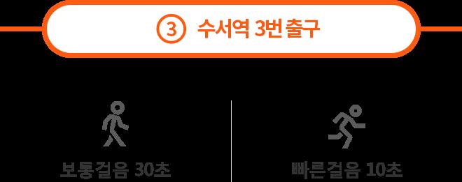 3 수서역 3번 출구 : 보통걸음30초, 빠른걸음 10초