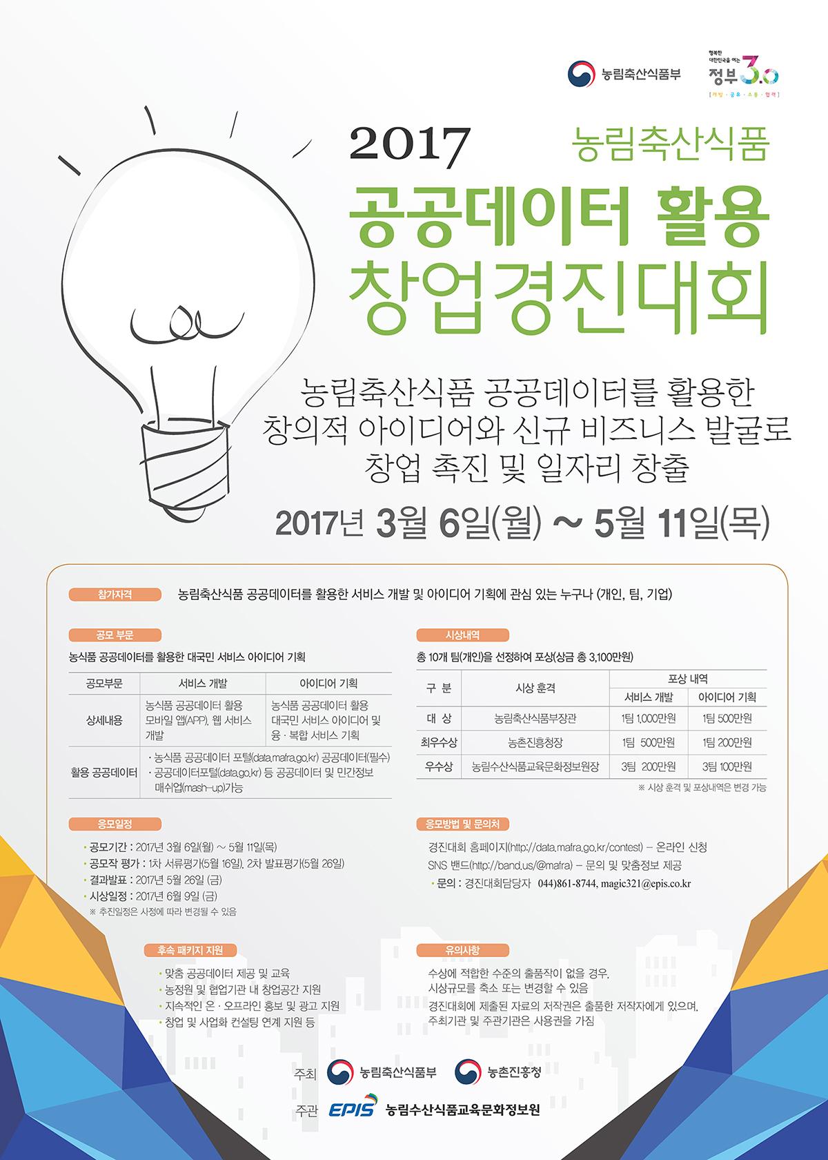 2017년 농림축산식품 공공데이터 활용 창업경진대회