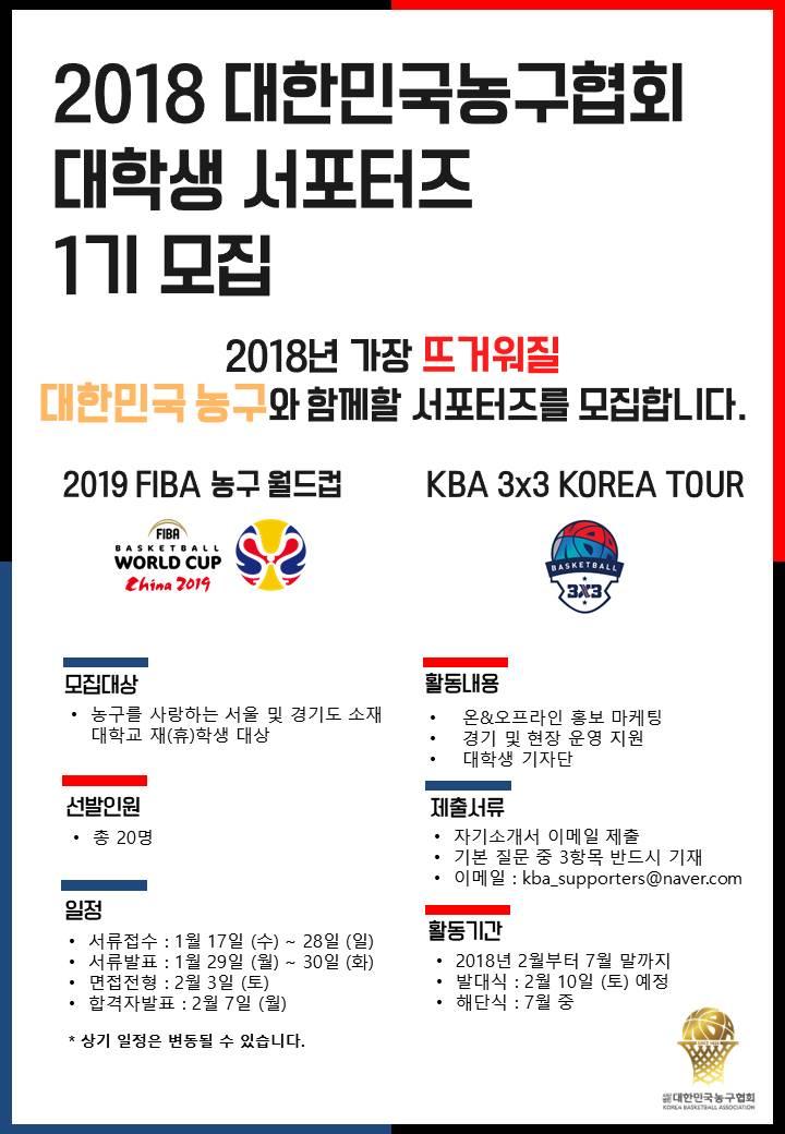 2018 대한민국농구협회 대학생 서포터즈 1기 모집