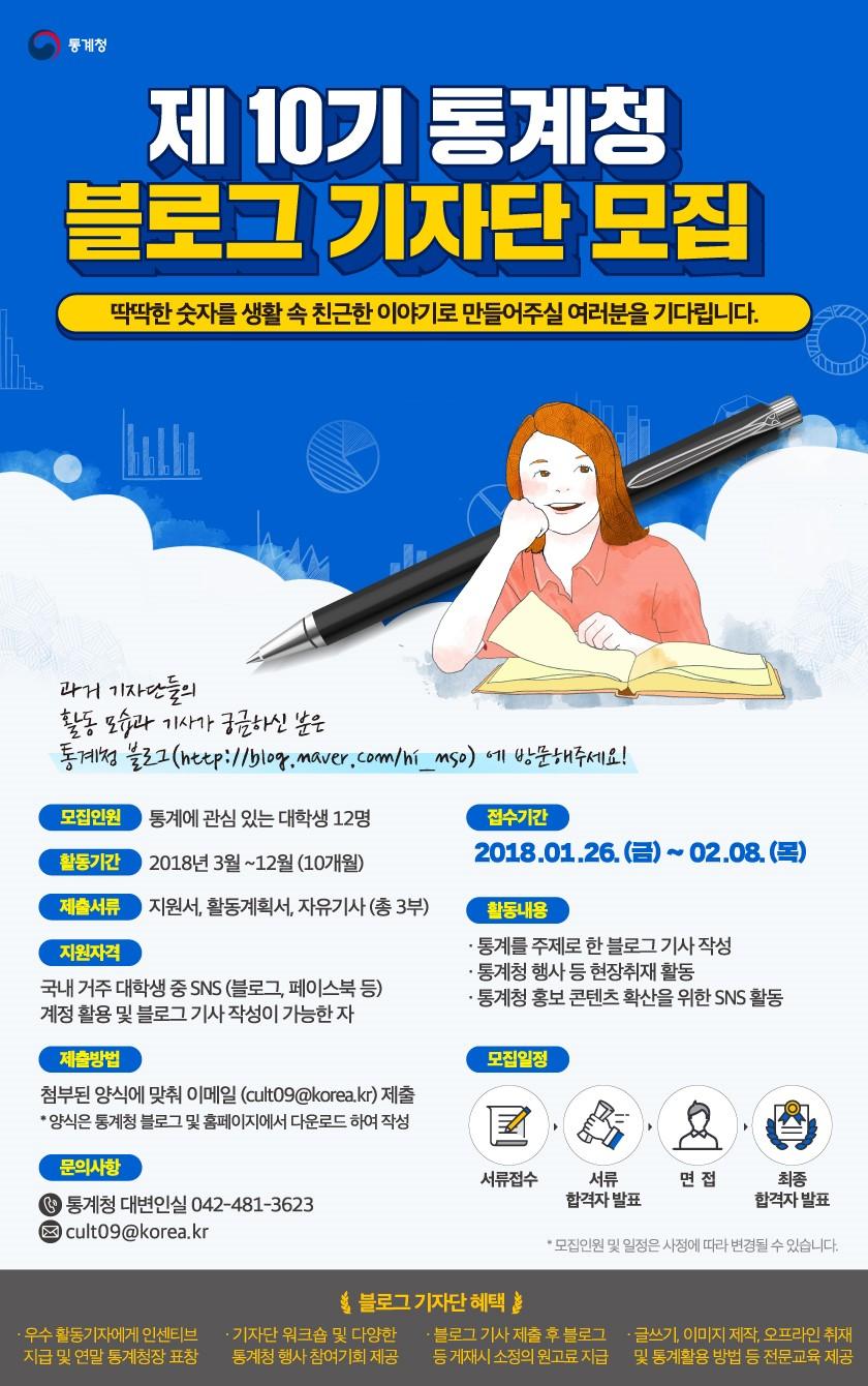 [통계청]제 10기 통계청 블로그기자단 모집(~2/8)