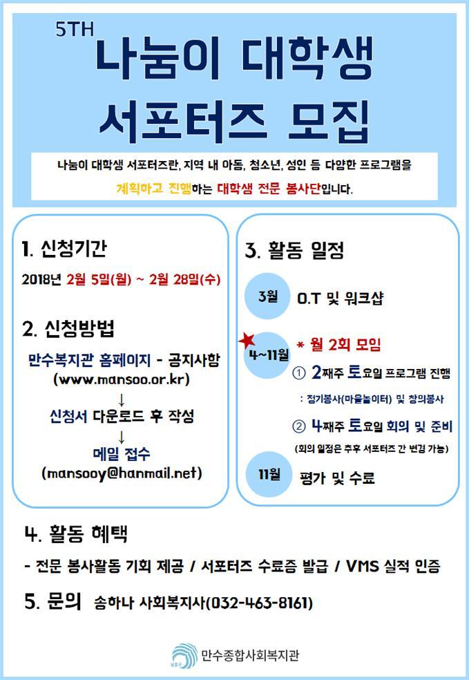만수종합사회복지관 `나눔이 대학생 서포터즈 5기` 모집