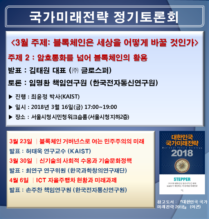 암호통화를 넘어 블록체인의 활용, KASIT 정기토론회