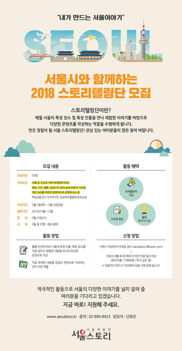 서울시와 함께하는 2018 스토리텔링단 모집