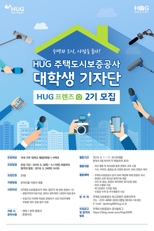 주택도시보증공사(HUG) 대학생 기자단 `허그프렌즈 2기` 모집