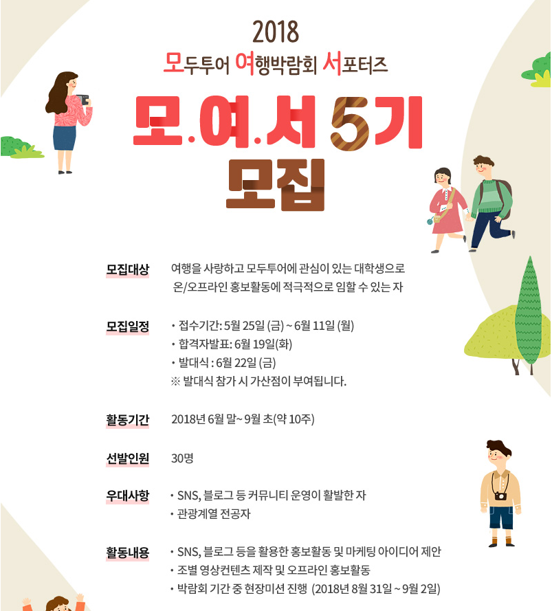 2018 모두투어 여행박람회 서포터즈 '모.여.서 5기' 모집