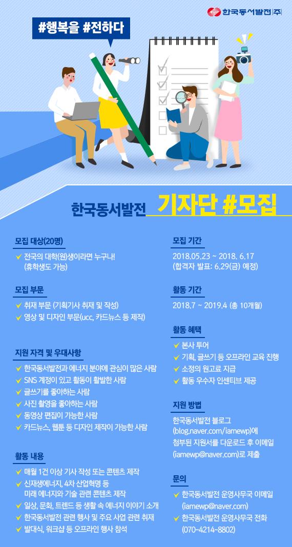 한국동서발전 대학생 기자단 모집!