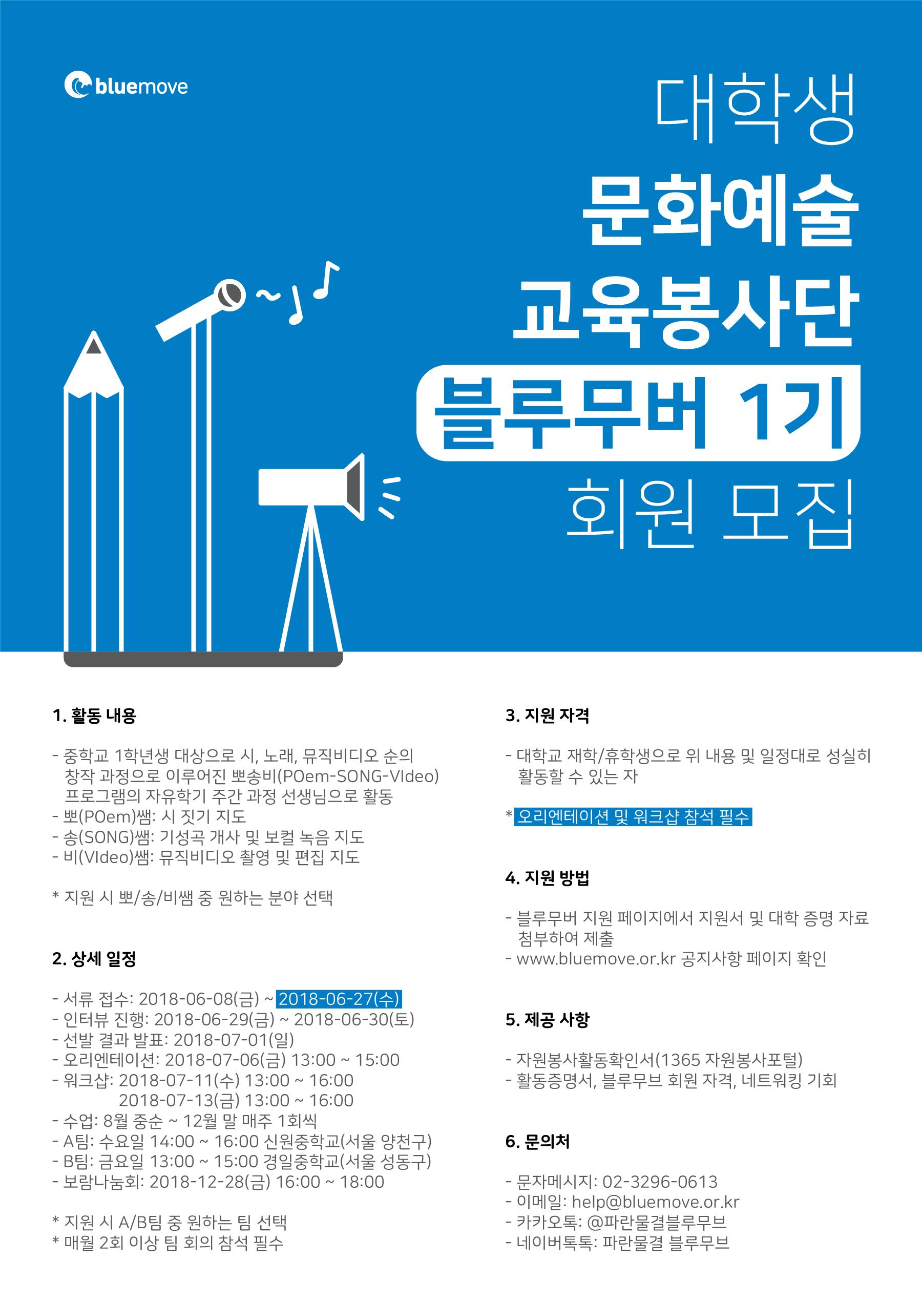 시 짓기, 보컬 녹음, 뮤비 제작 교육봉사 뽀송비