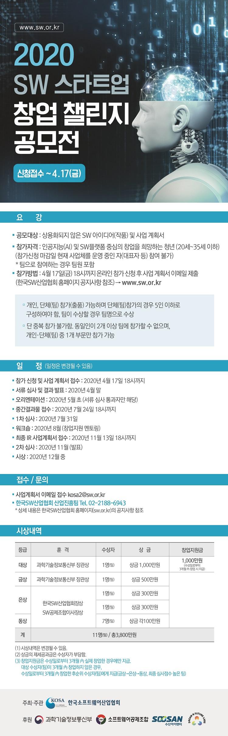[마감연장]2020 SW 스타트업 창업 챌린지 공모전 참가 안내(4/17마감)